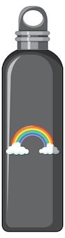Een zwarte thermofles met regenboogpatroon