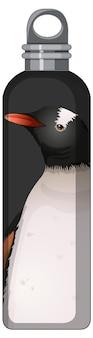 Een zwarte thermosfles met pinguïnpatroon