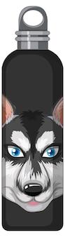 Een zwarte thermosfles met siberische husky patroon