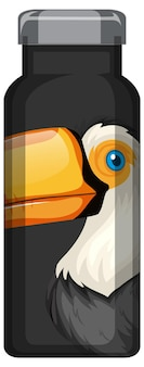 Een zwarte thermosfles met toekan vogelpatroon