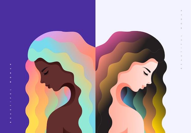 Een zwarte vrouw en een blanke vrouw met kleurrijk haar die naar beneden kijken Premium Vector