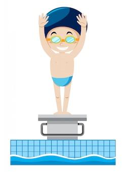 Een zwemmer op springplank