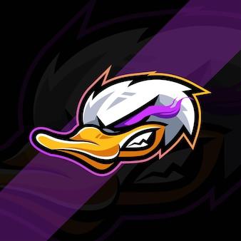 Eend boos mascotte logo esports sjabloonontwerp