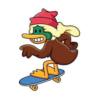 Eend cartoon skateboarden illustratie