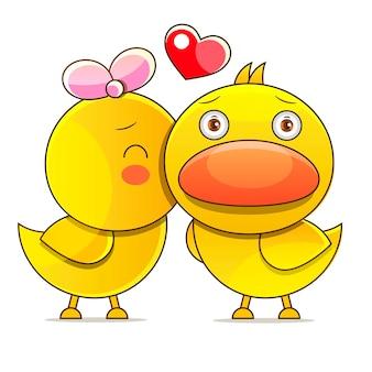 Eend, eend, gans grappige cartoon kinderen spel illustratie. schattig vector vogels tekenen.