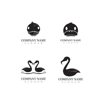 Eend en zwaan logo dier en vogels pictogram en illustratie logo ontwerp