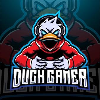 Eend gamer esport mascotte logo