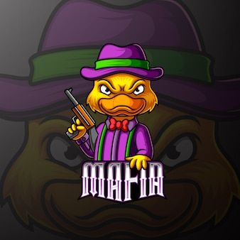 Eend maffia mascotte e sport logo-ontwerp