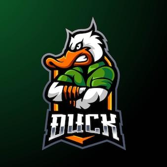 Eend mascotte logo ontwerp