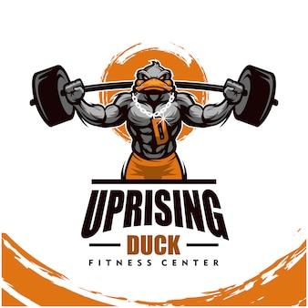 Eend met sterk lichaam, fitnessclub of gymlogo.