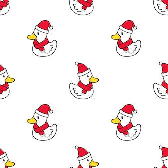 Eend naadloze patroon kerst kerstman hoed cartoon