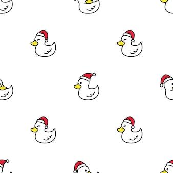 Eend naadloze patroon kerst kerstman hoed