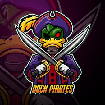 Eend piraten mascotte esport logo ontwerp