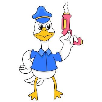Eenden die de kleren van de sheriffagent dragen die kanongeweren houden, vectorillustratieart. doodle pictogram afbeelding kawaii.