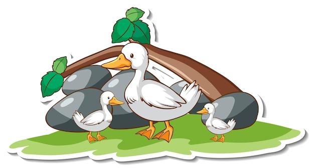Eendfamilie met sticker van het natuurelement