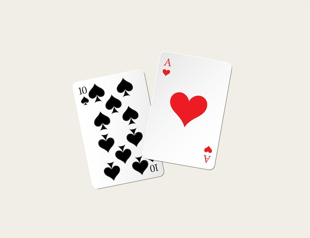 Eenentwintig punten blackjack combinatie.