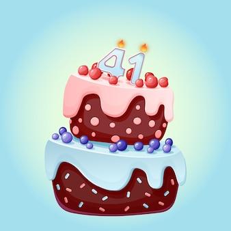 Eenenveertig jaar verjaardagstaart met kaarsen nummer 41.