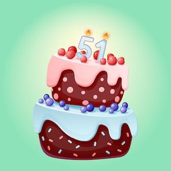 Eenenvijftig jaar verjaardagstaart met kaarsen nummer 51. leuke cartoon feestelijke vector afbeelding. chocoladekoekje met bessen, kersen en bosbessen. gelukkige verjaardagsillustratie voor feestjes