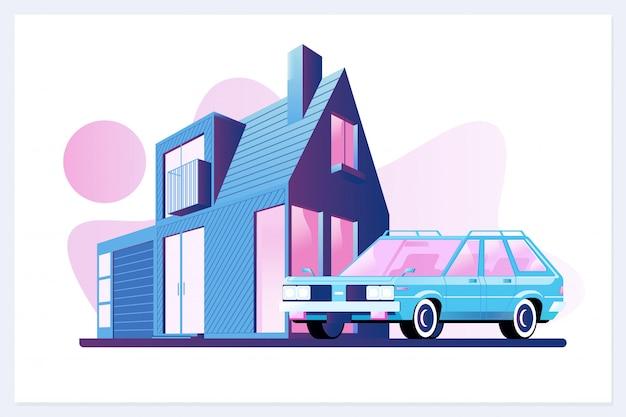 Eengezinswoning dorp of stad buitenwijk eigendom gebouw met auto