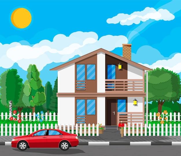 Eengezinswoning in de voorsteden. platteland houten huis icoon. auto, weg, hek, bos met bomen en gebouw. natuur panorama landschap. vastgoed en huur. vectorillustratie in vlakke stijl