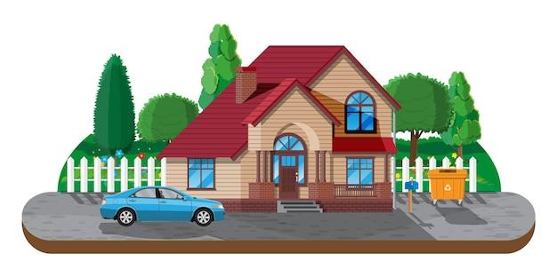 Eengezinswoning in de voorsteden. platteland houten huis icoon. auto, weg, hek, bos met bomen en gebouw. vastgoed en huur. vectorillustratie in vlakke stijl