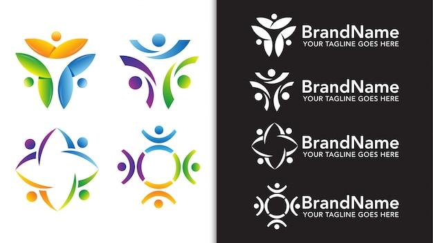 Eenheid mensen team logo sjabloon set