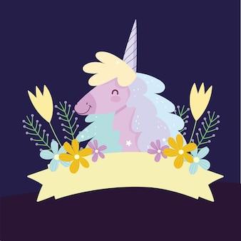 Eenhoorn bloemen lint