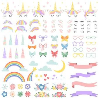 Eenhoorn constructor. pony-manen-stylingbundel, eenhoornhoorn en feeststerbril. bloemen, magische regenboog en hoofdbogen vector set