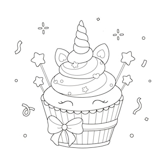 Eenhoorn cupcake kleurplaat illustratie