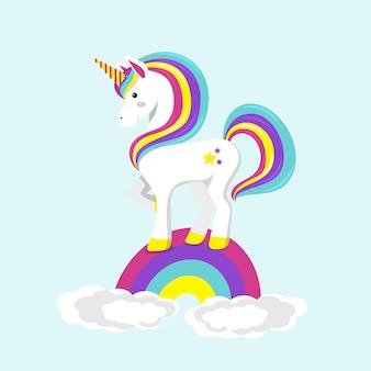 Eenhoorn die zich op regenboog bevindt. platte vectorillustratie.