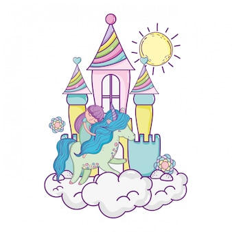 Eenhoorn en prinses met kasteel in de wolken