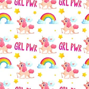 Eenhoorn en regenboog naadloos patroon met grl pwr-slogan.