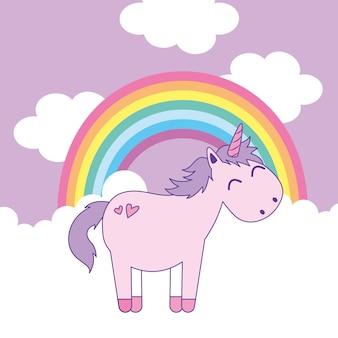 Eenhoorn en regenboog tussen wolkenbeeldverhaal. vector illustratie