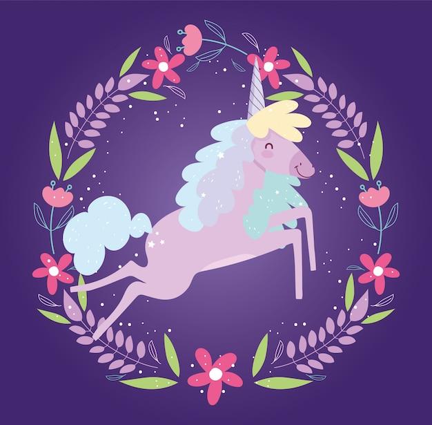 Eenhoorn frame bloemen fantasie magie schattige cartoon