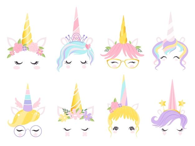 Eenhoorn gezicht. fantasie paard pony dier creatie kit oren hoofd hoorn ogen en haren bril vector schattig. illustratie paard en pony, gezicht eenhoornmagie
