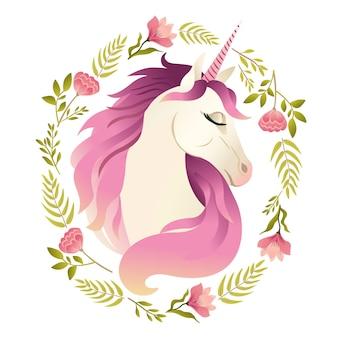 Eenhoorn hoofd in een krans van bloemen