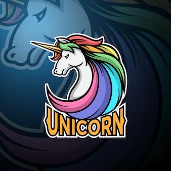 Eenhoorn hoofd logo gaming esport sjabloon