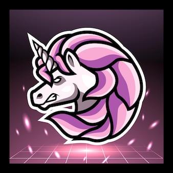 Eenhoorn hoofd mascotte esport logo ontwerp