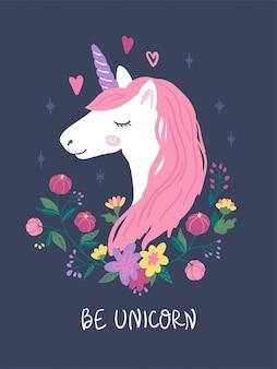 Eenhoorn hoofd met roze haren en bloemen. leuke illustratie voor kinderen.
