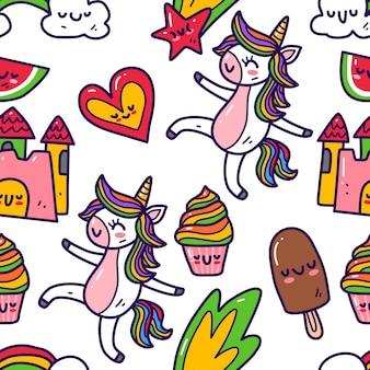 Eenhoorn in doodle stijl naadloze patroon