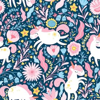 Eenhoorn in een bos naadloos bloemenpatroon