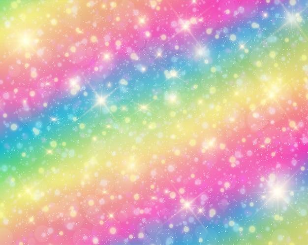 Eenhoorn in pastel hemel met regenboog.