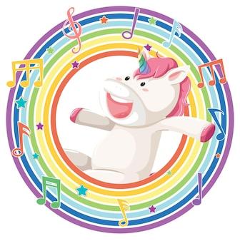 Eenhoorn in regenboog rond frame met melodiesymbool