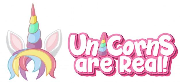 Eenhoorn is een echt logo in pastelkleur met schattige eenhoorn