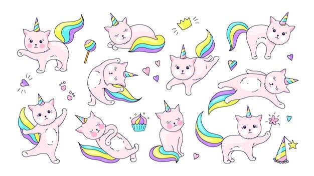 Eenhoorn kat. schattig doodle dier met kawaii gezicht, hand getrokken kitty tekenset voor kinderen illustratie in pastelkleuren. vector grappige schattigheid katten poseren set voor magische stickers
