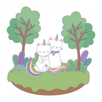 Eenhoorn katten tekenfilms