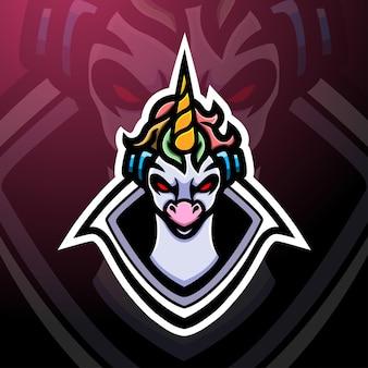 Eenhoorn mascotte esport logo ontwerp
