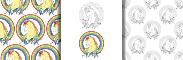 Eenhoorn met regenboogprints en naadloze patronen set