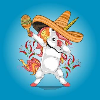 Eenhoorn mexicaanse hoed cinco de mayo kunstwerk vector