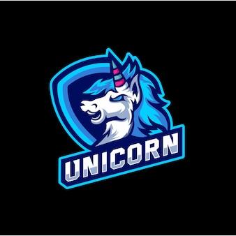 Eenhoorn moderne sport logo mascotte sjabloon
